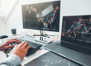 Computer screen showing a stock market graph